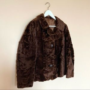 VTG Genuine Fur Button Down Coat with Collar
